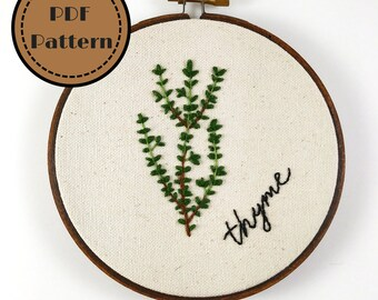 Printable PDF- Thyme Hand Embroidery Pattern- Culinary Herbs Collection