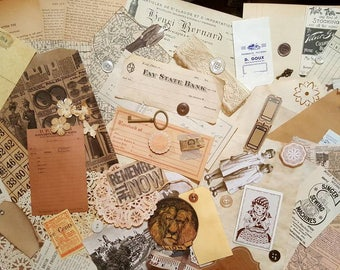 Vintage junk journal kit, vintage items, neutral colors junk journal kit, old paper epherma, 70+++ items, new and improved kit