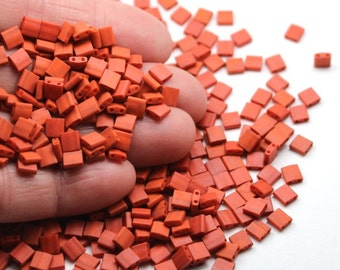 Tila Beads Burnt Sienna # 2315, 5x5x2mm Miyuki Brand, two parallel holes along the side, tomato or terra cotta toned, brown orange beads