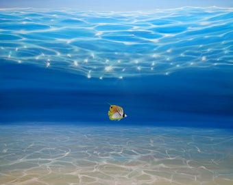 Print on Canvas - Solo in the Turquoise Sea - an Underwater Seascape with threadfin butterfly fish