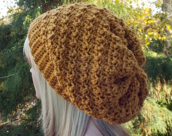 Mustard Crochet Hat, Womens Slouchy Beanie, Oversized Slouch Beanie, Chunky Hat, Yellow Slouchy Hat, Winter Hat, Slouch Hat