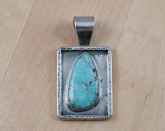 White Water Turquoise Free Form Shadow Box Pendant in Sterling Silver