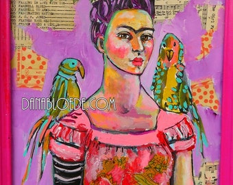 Frida with Birds with shabby pink frame