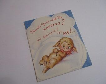 Vintage 1940's Children's Anthropomorphic Greeting Card-UNUSED-Greet & Gladden Card