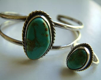Vintage 70's Turquoise & Silver Bracelet and Ring Set