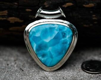 Larimar Pendant - Tube bale larimar pendant - Unique Larimar - Blue Pectolite Pendant - Larimar necklace - larimar pendant - blue pectolite