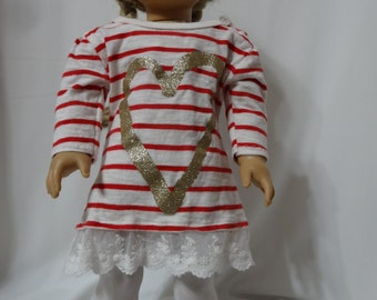 """Short long-sleeved A-line dress or tunic for 18"""" dolls."""