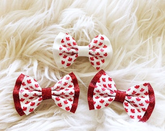 Canada Day bow - Red glitters gold white glitter headband or hairclip
