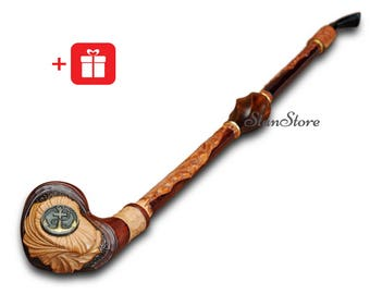 Extra LONG Hand Carved Smoking Pipe Wooden Pipe Tobacco Pipe Long Stem Metal ANCHOR Pipe Wedding gift Groomsmen gift ideas Smoking bowl