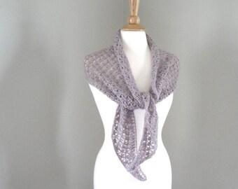 Alpaca Shawl Wrap, Large Scarf, Shoulder Shawl, Lavender Purple, Hand Knit, Luxury Natural Fiber