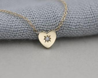 14k solid gold heart necklace diamond heart pendant