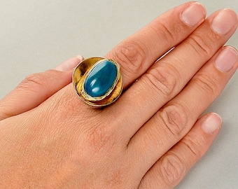 Petrol blue ring, tagua nut ring, gold chunky band, index finger ring, round disc ring, tribal jewelry, natural bead ring, gift for her.