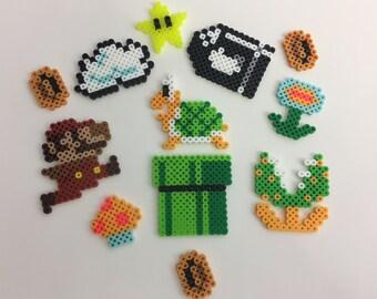 Set of 12 Super Mario Mini Figures - Nintendo - Perler Bead Sprites