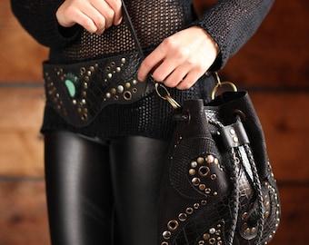Burning Man Leather Shoulder and Hi Bag - Black Utility Belt - Fanny Pack - Tribal Leather Hip Bag - Travel Hip Bag - Utility 3 in 1 Hip Bag