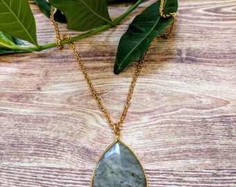 Grey Teardrop Labradorite necklace on a stainless steel Necklace. Simply Forever