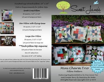 Mini Charm Trio Pillow Pattern by Sweet Jane's Quilting & Design - Printed Paper Pattern