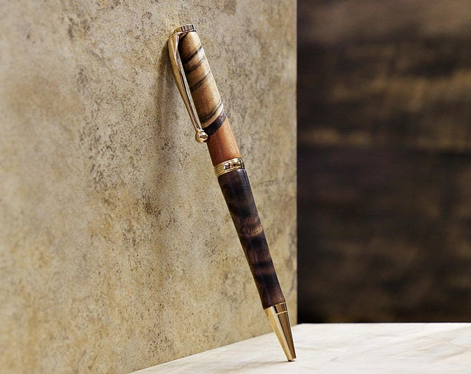 Wood Pen, Figured Walnut, Cherry, Ambrosia Maple, 24k Gold Plated Metal