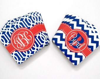 monogram coaster • housewarming or wedding gift  ideas : red white and blue 4th of July decor