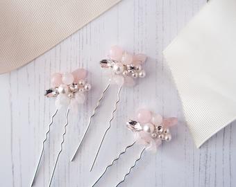 Rose Quartz Hair Pins, Pink Hair Pins, Rose Quartz Wedding, Rose Quartz Wedding Accessories, Rose Quartz Hair Accessories, Bridal Hair Pins