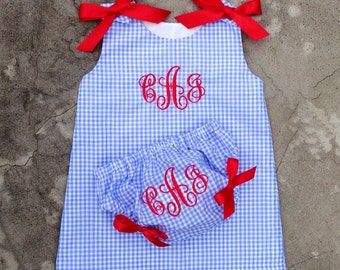 4th of july outfit - baby girl clothes - kids Outfit - monogram baby dress - baby girl gift - baby beach outfit - red white and blue