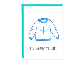 Hanukkah Sweater Card, Funny Hanukkah Cards, Ugly Sweater Card, Funny Holiday Card, Hannukah Sweater, Holiday Card Sets, Funny Chanukah Card