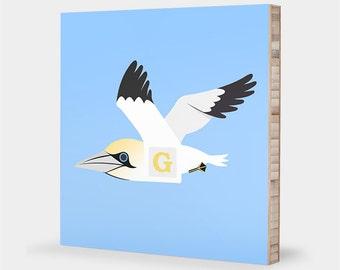 G is for Gannet : ABC Block Bamboo Wall Art Series // Alphabet Kids Wall Art Nursery Room Decor Bird Art