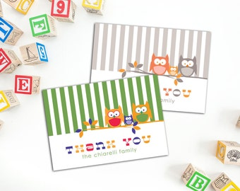 Owl Family Thank You Folded Note Cards, Baby Thank You Cards, Personalized Family Cards, Cute Owl Family Cards, Set of ten Cards, Thank yous