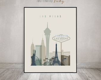 Wall art Las Vegas, Las Vegas print, Poster, Las Vegas skyline, Nevada, Travel, City print, Home Decor, Gift, Office Decor, ArtPrintsVicky