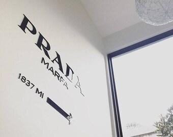 PRADA MARFA Gossip Girl fashion home decor interior sticker, wall decor, wall letters, wall decal, installation, modern interior, styling