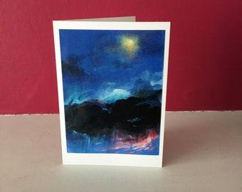 HEAVENS OPEN. Original Landscape Handmade Artist Greetings card