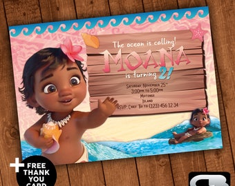 Moana Invitation with Free Thank You Card - Moana Invite - Moana Invitation - Moana Birthday Party - Digital File Download
