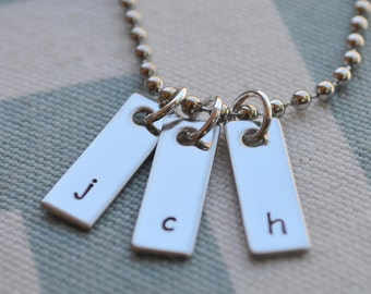 Initial Tag Hand Stamped Necklace - Mom - Grandmother - Wife - Girlfriend - Best Friends - Sister - Daughter - Mothers Day