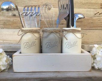 Mason Jar Utensils Holder, Mason Jar Kitchen Decor, Gray Kitchen Decor, Kitchen Utensils Holder, Painted Mason Jar Kitchen Set,Farmhouse