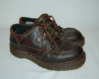Women 8 US 6 UK Dr Martens Airwair Brown Leather Shoes Made in England