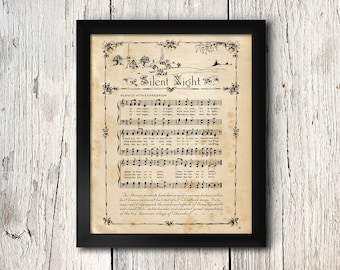 Vintage Silent Night Music Print - Silent Night Song - Digital Download