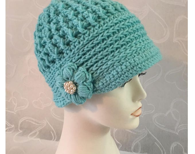 Crocheted Newsboy Cap-Womens Cloche Hats-Flapper Hat-Vintage Caps-1920's style Hats-Blue Hats-Pearl Flower-Blue Hat