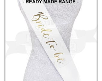 Bachelorette Party Sashes - Ready to ship next business day - High Quality, metallic gold print; Bride to be, Bridesmaid, Maid of Honor etc.