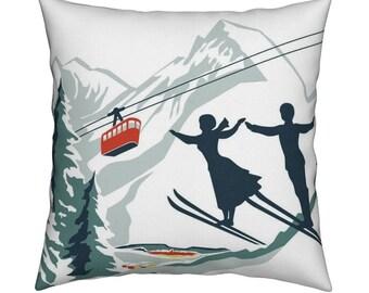 Stoff, RETRO, Skifahrer, Almen, Berg