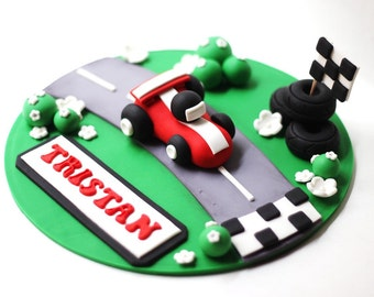 Fondant Race Car Cake Topper Set - Transportation Cars Trucks Fondant Topper Set Things that go fondant cake topper set - Racecar Fondant