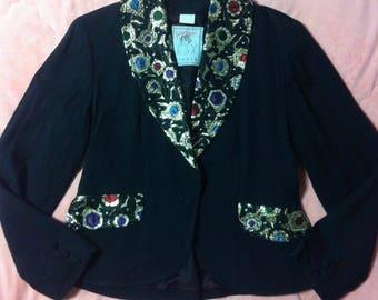 Vintage Black Blazer Jacket, Vintage Black Evening Jacket, Black Blazer, Vintage Black Blazer with Brocade, Vintage Black Blazer
