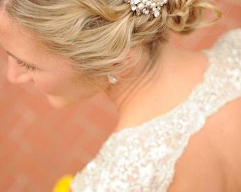 Crystal Ribbon Bow Wedding Hair Comb, Swarovski Pearl Bridal Hair Comb, Victorian Flower Hair Comb, Wedding Hair Accessories, EATHELYN