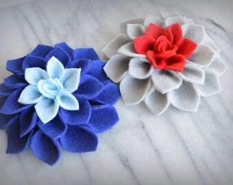 Felt Dahlia brooch pin, hair clip or embellishment - Custom Colors!  Hair, Fashion, Accessory, Girls, brooch