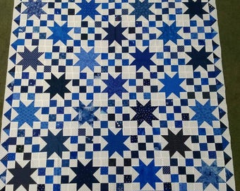Blue and white star quilt top