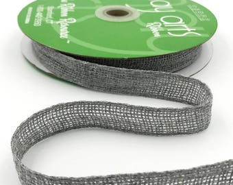 3/4 Inch Soft Open Weave Ribbon, Grey Burlap Ribbon . 3 yards