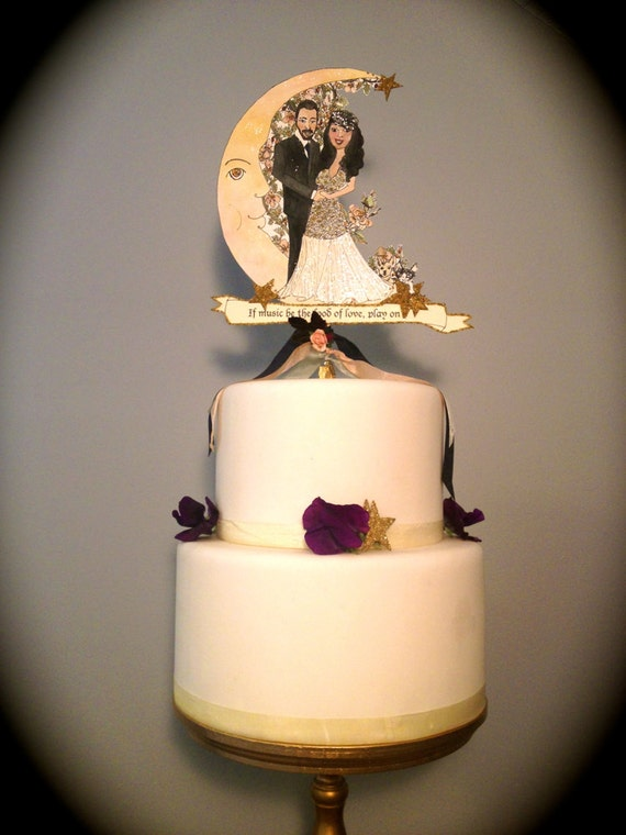 Portrait Wedding Cake Topper - Portrait - Custom Illustrated - Customized  - Vintage Inspired