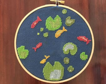 Aerial Pond View Cross Stitch