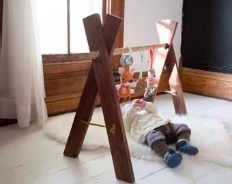 Wooden Baby Gym - Kids Activity Gym Walnut Natural Wood Eco Friendly Organic Toys Nursery USA Handmade