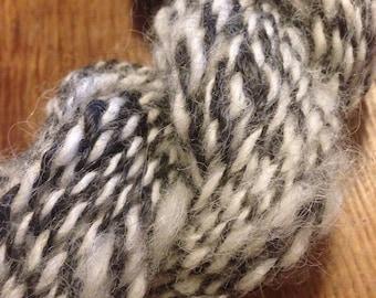 Handspun yarn, natural white alpaca and gray kid mohair