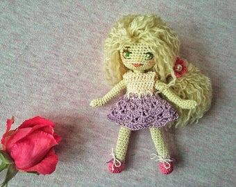 Small Blonde crocheted Doll | Pocket Doll | Cute Gift for Girl | Dollhouse | crocheted Lucky Gift |