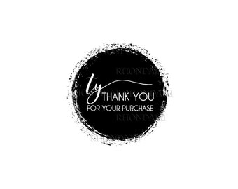Thank You Stickers - Printable Sticker - Thank You For Your Purchase Sticker - Thank You For Your Order - Round 1.5 Inches - 501 Logo Style